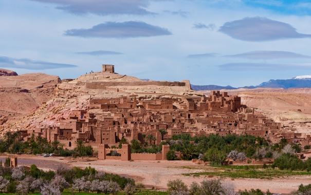 Фото обои пейзаж, горы, природа, город, дома, wallpaper, африка
