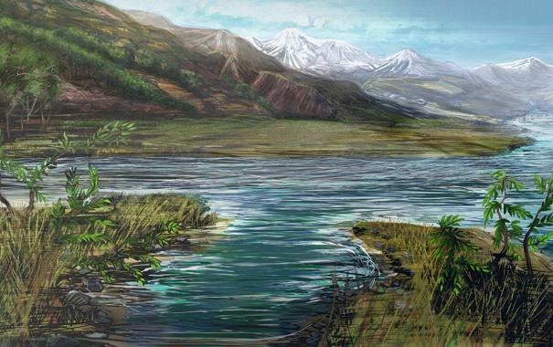 Фото обои снег, горы, природа, река, холмы, рисунок, растения