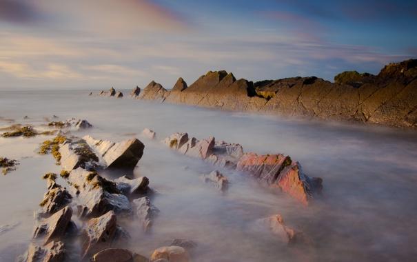 Фото обои море, небо, вода, свет, природа, камни, океан