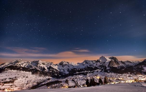 Фото обои зима, снег, горы, природа, огни, вечер, городок