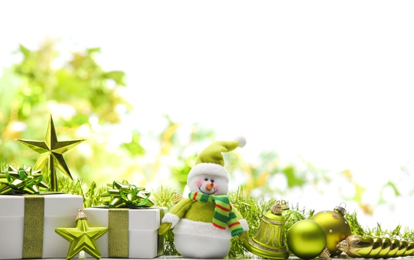 Фото обои звезды, подарки, снеговик, украшение, new year, колокольчик, stars