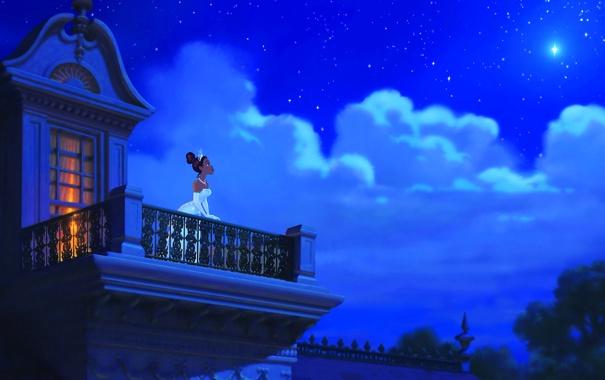 Фото обои небо, облака, ночь, звезда, мультфильм, сказка, балкон