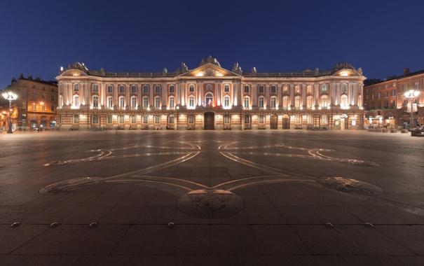 Фото обои ночь, город, Франция, площадь, Тулуза