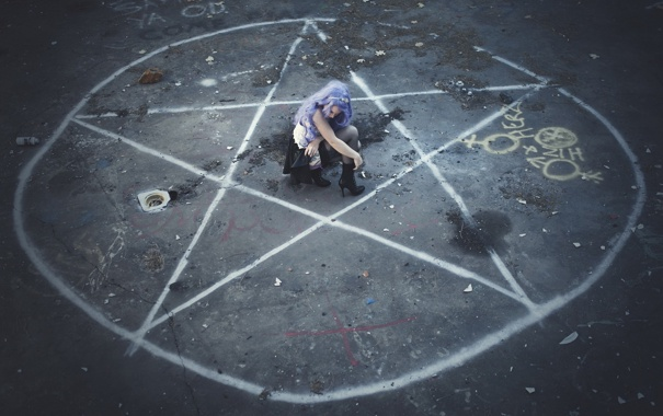 Фото обои девушка, круг, ритуал