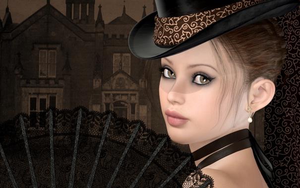 Фото обои девушка, веер, шляпка, особняк