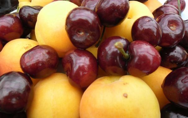 Фото обои макро, красное, еда, фрукты, желтое, персики, черешня