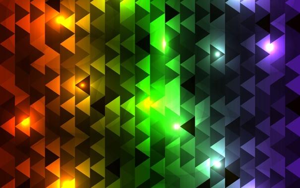 Фото обои абстракция, треугольники, разноцветные