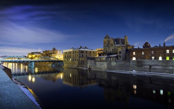 Фото обои мост, город, река