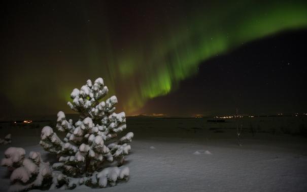 Фото обои зима, звезды, ночь, северное сияние, Aurora Borealis