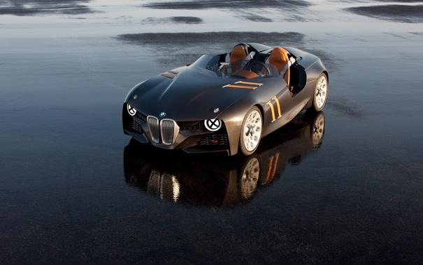 Фото обои асфальт, мокрый, отражение, BMW, Hommage, 328