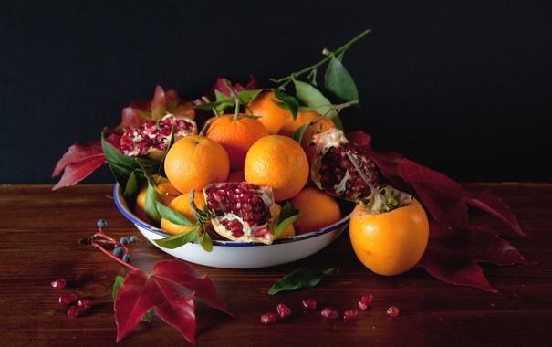 Фото обои ягоды, еда, фрукты, гранат, мандарины, хурма