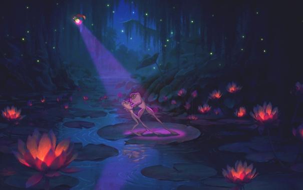 Фото обои болото, лягушки, дисней, Принцесса и лягух