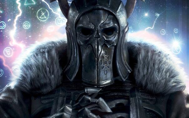 Фото обои шлем, мех, доспех, The Witcher 3