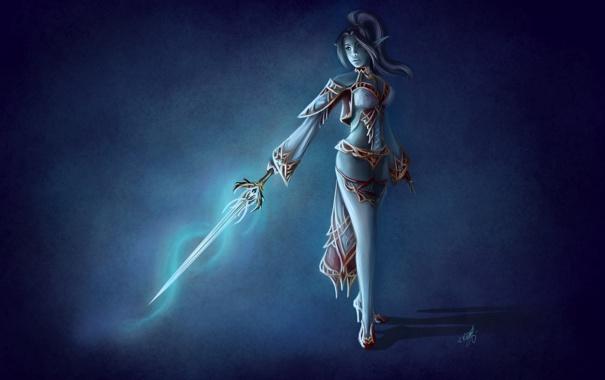 Фото обои взгляд, девушка, лицо, фантастика, волосы, тень, меч