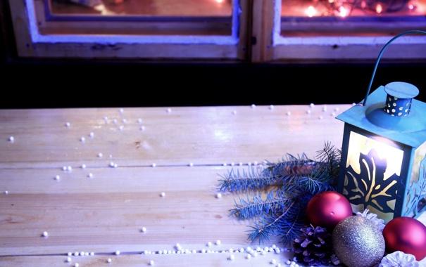 Фото обои украшения, фон, праздник, шары, обои, новый год, окно