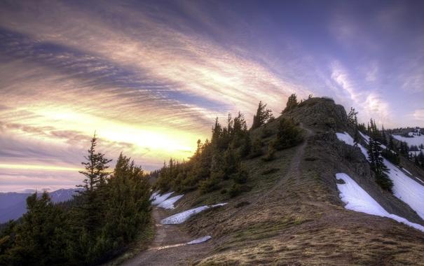 Фото обои небо, пейзаж, гора