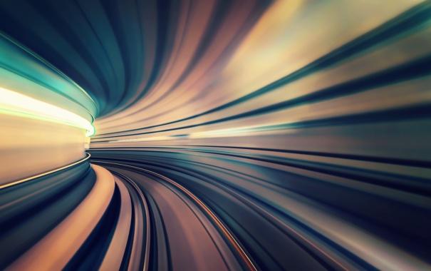 Фото обои свет, город, выдержка, тоннель