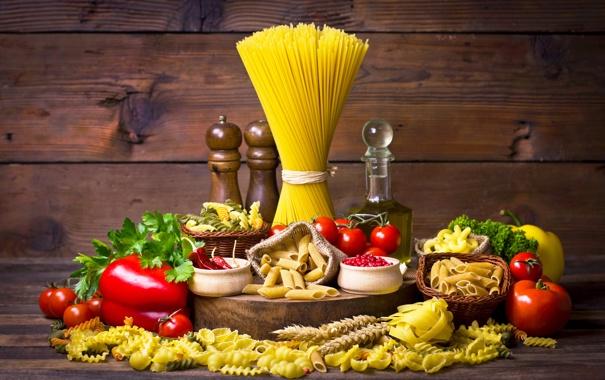 Фото обои перец, натюрморт, помидоры, спагетти, томаты, специи, макароны