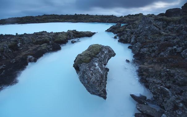 Фото обои море, ночь, скалы, Исландия, фиорд