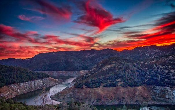Фото обои облака, горы, природа, река, зарево