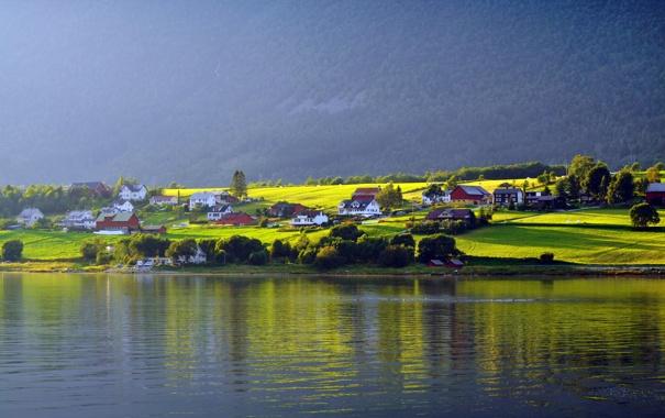 Фото обои лето, пейзаж, озеро, дома