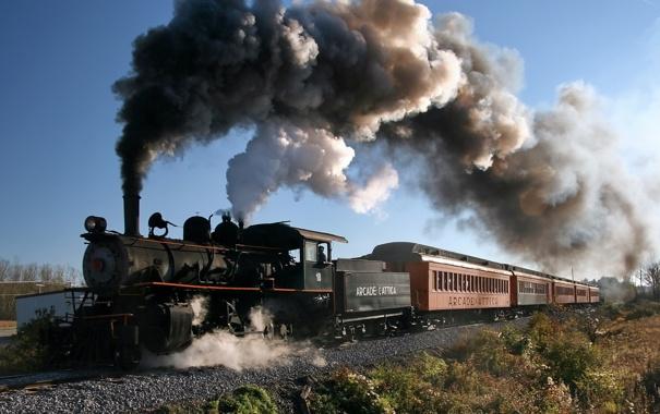 Фото обои поезд, вагоны, дым из трубы