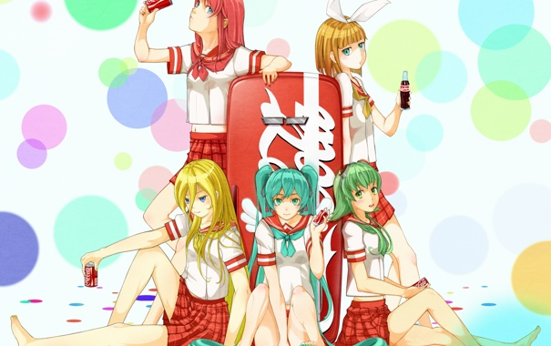 Фото обои девушки, бутылка, арт, холодильник, банки, напиток, coca cola