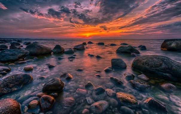 Фото обои море, пейзаж, камни, рассвет