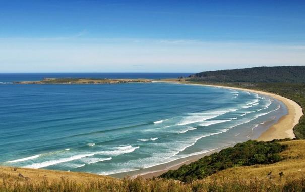 Фото обои море, волны, горы, природа, фото, берег, Новая Зеландия