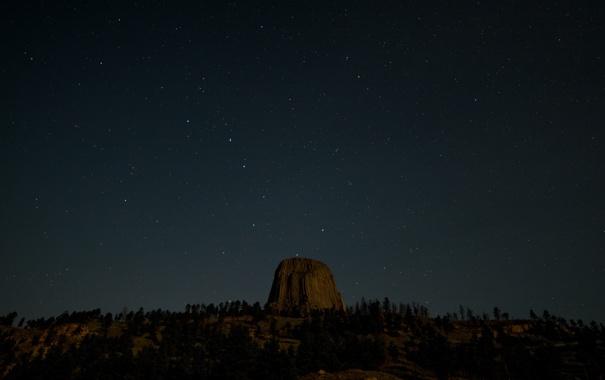 Фото обои небо, звезды, Вайоминг, Соединенные Штаты, Башня Дьявола