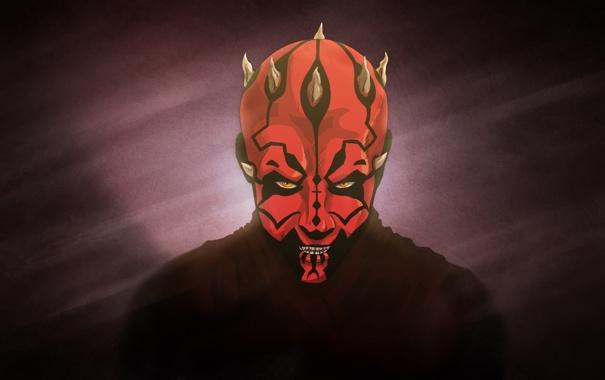 Фото обои красный, Star Wars, рога, Darth Maul, Звёздные войны, ситх, Дарт Мол