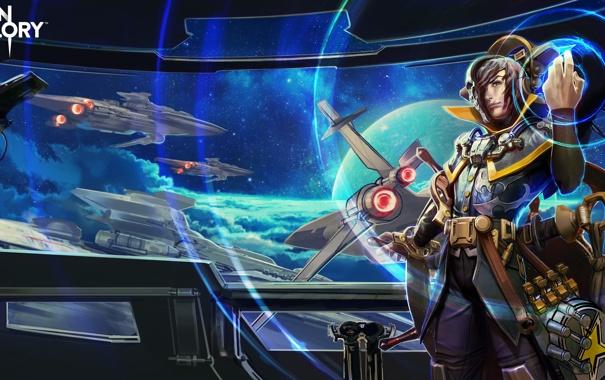 Фото обои spaceship, фантастика, Vainglory, мужчина, Cloud Raider, Vox