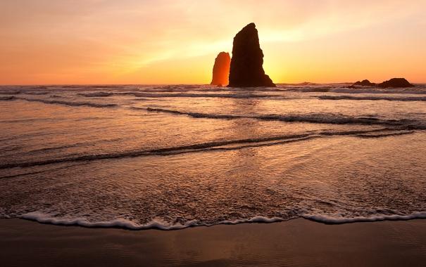 Фото обои море, пляж, солнце, скалы