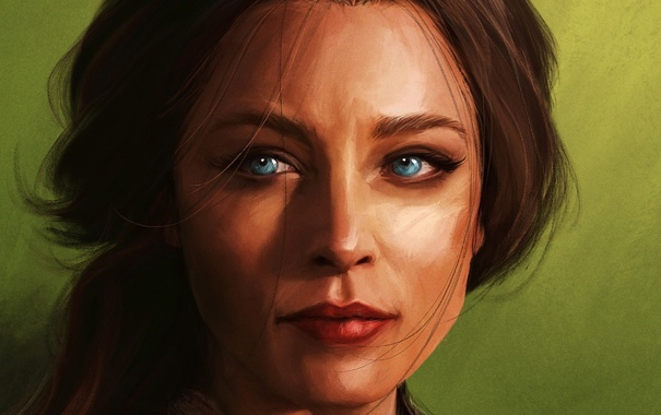 Фото обои взгляд, девушка, лицо, рисунок, синие глаза