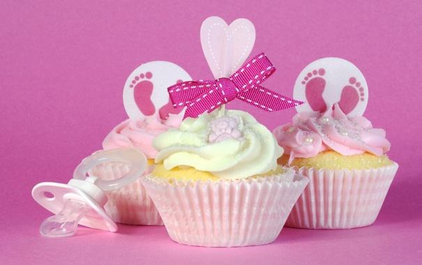 Фото обои кексы, крем, бантик, сердечко, соска