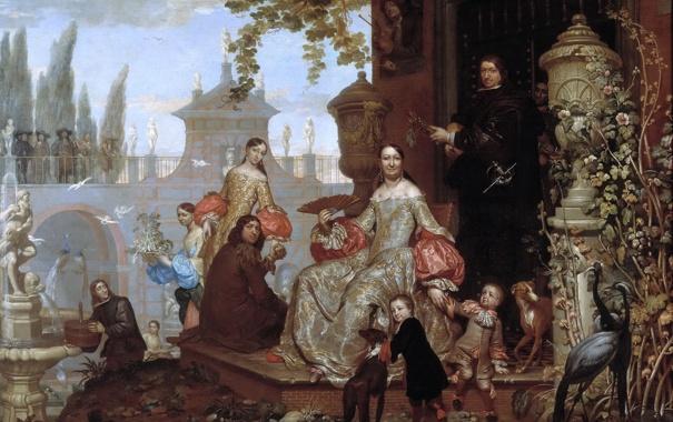 Фото обои картина, жанровая, Ян ван Кессель младший, Семья в Саду