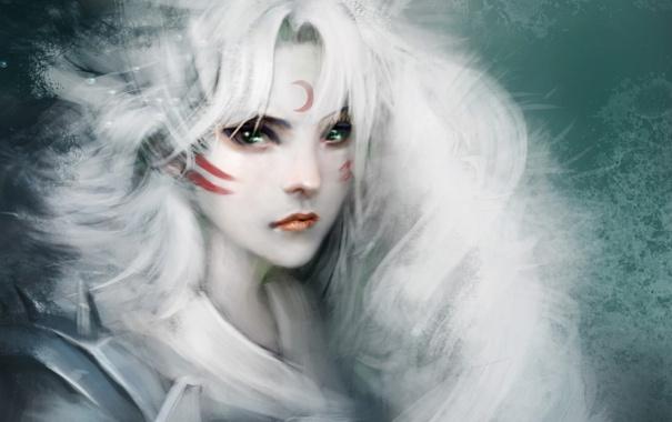 Фото обои девушка, месяц, арт, белые волосы, sesshomaru, inuyasha, crazy cat