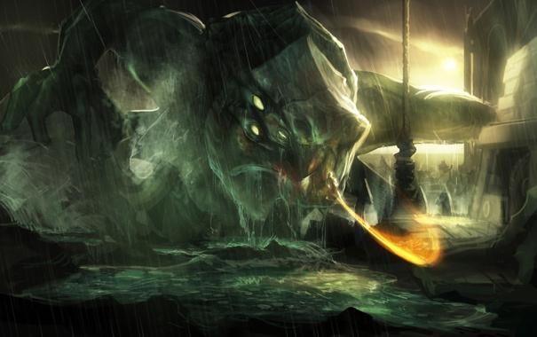 Фото обои море, монстр, герой, битва, god of war