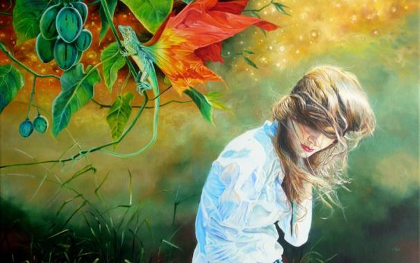 Фото обои трава, листья, девушка, ветер, крылья, локоны, ящерка