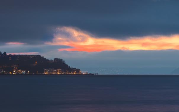 Фото обои город, берег, вечер, Сиэтл, США, Seattle, штат Вашингтон
