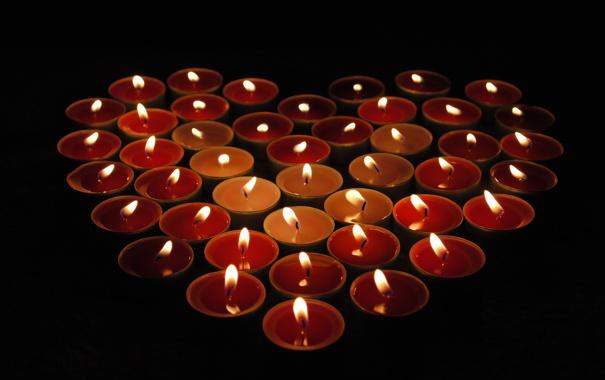 Фото обои огонь, сердце, свеча, свечи, день святого валентина, Свечки