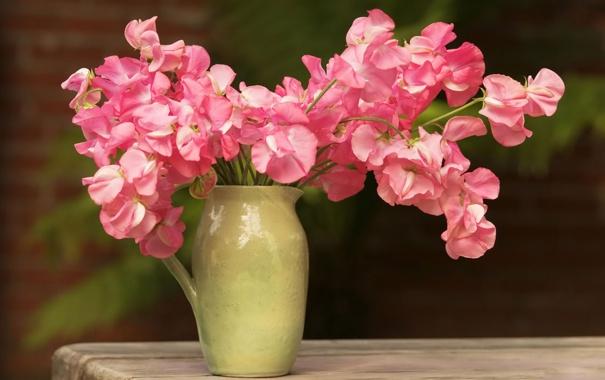 Фото обои цветы, стол, розовый, букет, кувшин