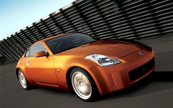Фото обои Дорога, Машина, Оранжевый, Ниссан, Движение, Машины, Orange