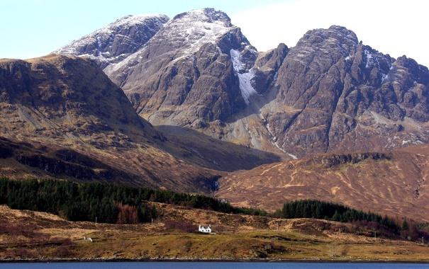 Фото обои деревья, пейзаж, горы, дом, шотландия