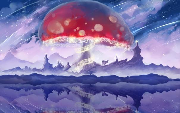 Фото обои озеро, отражение, скалы, узоры, гриб, мухомор, арт