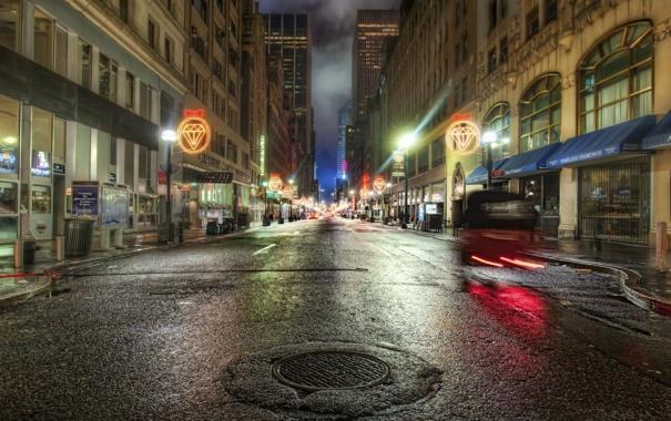 Фото обои дорога, ночь, огни, The Hover Car in the Diamond Age