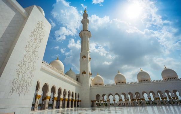 Фото обои небо, солнце, облака, башня, дворец, Abu Dhabi, ОАЭ