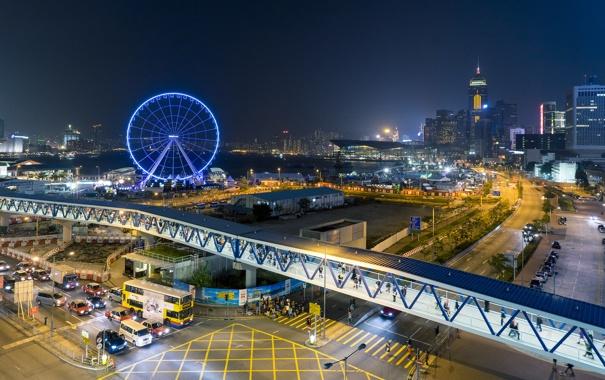 Фото обои ночь, огни, Гонконг, центр