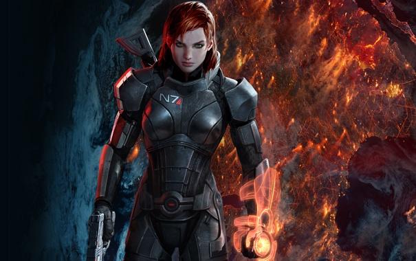 Фото обои женщина, рыжая, mass effect 3, шепард