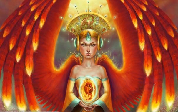 Фото обои девушка, украшения, птица, крылья, перья, арт, феникс